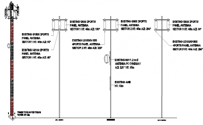 Mabini three legged electric tower installation details dwg file