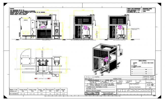 Machine plan detail view dwg file