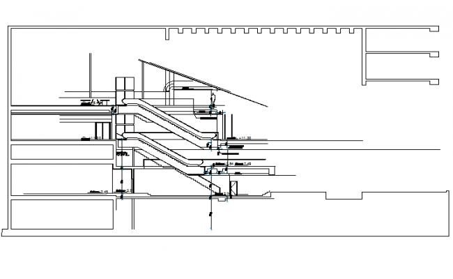 Machine stair ground floor to top floor detail dwg file