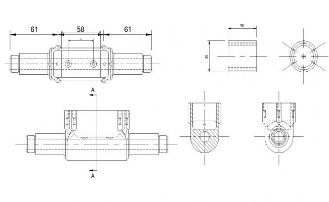 Machinery structure CAD block layout file in dwg format