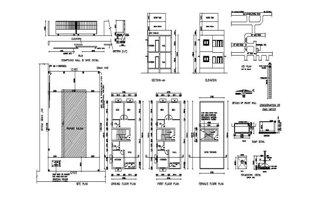 Madan house detailed architecture project with water tank dwg file