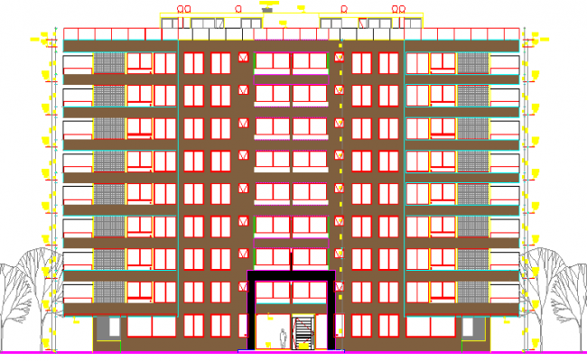 Main Elevation of Residential Flats Architecture Layout dwg file