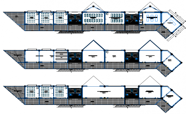 Main Elevation of School Architecture Design dwg file