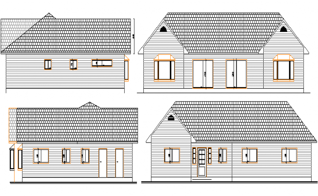 Main Elevation of Summer House Architecture Layout dwg file