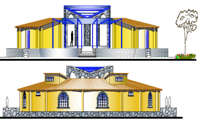 Main Elevation of Tourist Hotel Architecture Layout dwg file