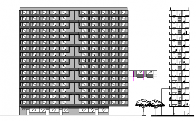 Main and side elevation of multi-family residential flats dwg file
