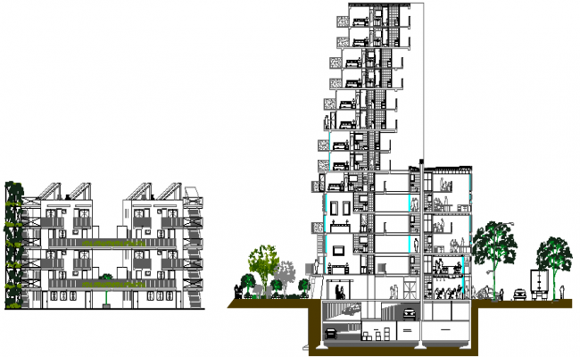 Main and side sectional view details of high rise building dwg file