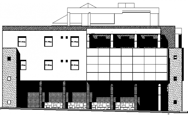 Main back elevation details of municipal office building dwg file