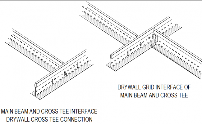 Main beam and cross tee detail dwg file
