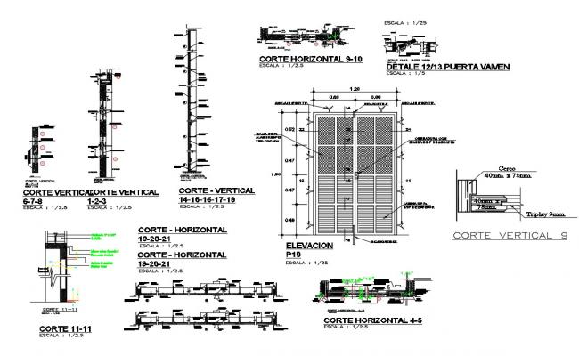 Main door elevation, section and installation cad drawing details dwg file