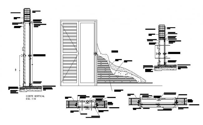Main door of house elevation installation drawing details dwg file