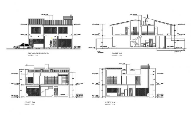 Main elevation and all sided sectional details of single family house dwg file