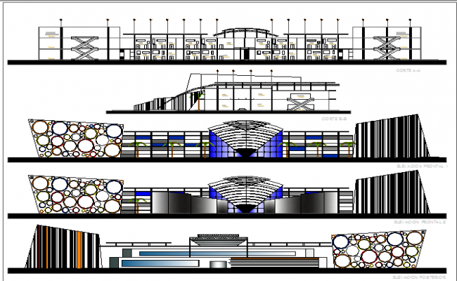 Main elevation and sectional details of city shopping center dwg file