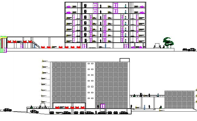 Main elevation and sectional details of multi-story business center dwg file