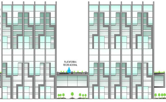 Main elevation details of finance center dwg file