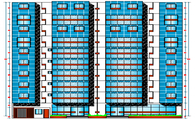 Main elevation details of multi-family residential building dwg file