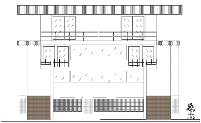 Main elevation of multi-flooring bungalow dwg file
