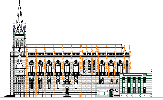 Main elevation of regional cathedral church design dwg file