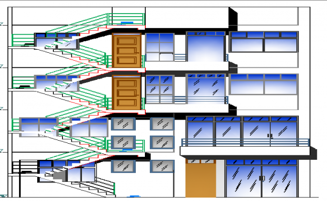 Main elevation of two flooring house design dwg file