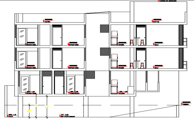 Main elevation view of multi-family residential building dwg file
