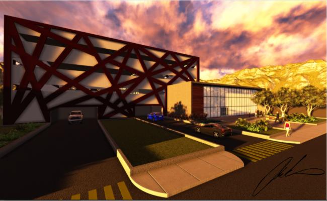 Main entrance 3d design of corporate building dwg file