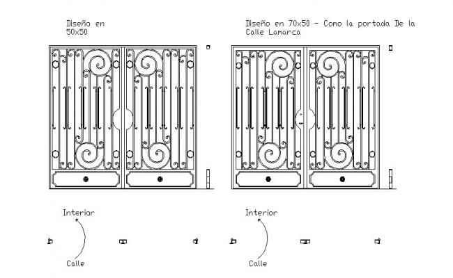 Main entrance gate elevation cad drawing details dwg file