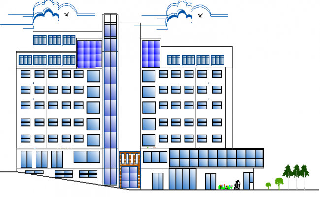 Main front elevation details of multi-purpose building dwg file