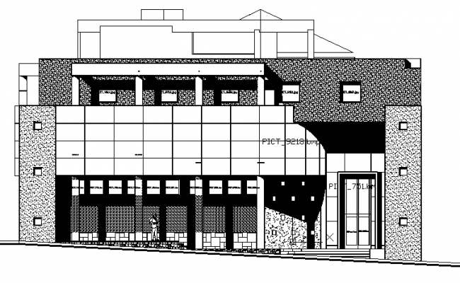 Main Front Elevation Details Of Municipal Office Building Dwg File