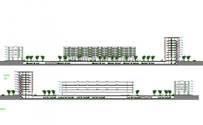 Main full elevation of multi-family housing building dwg file