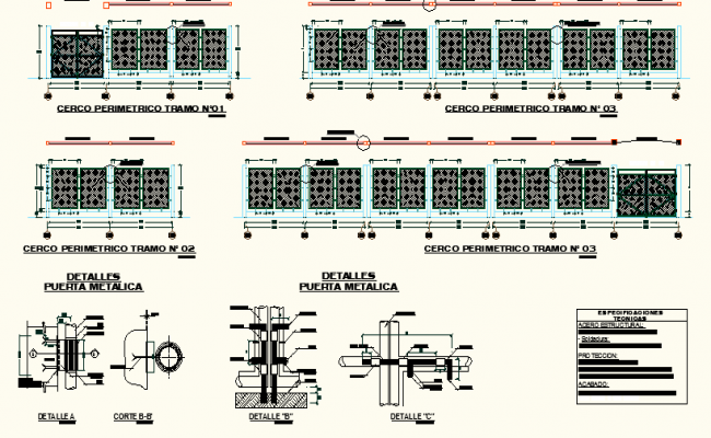 Main gate elevation detail and machine section detail dwg file
