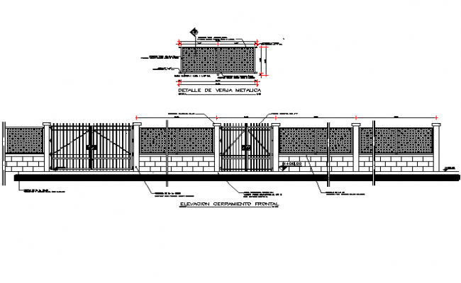Main gate plan and elevation detail dwg file