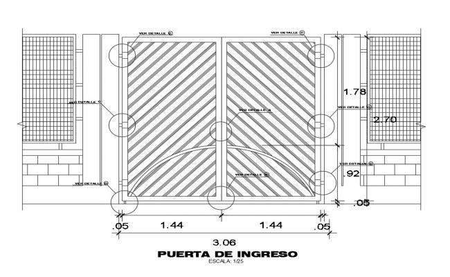Main gate section cad drawing details dwg file