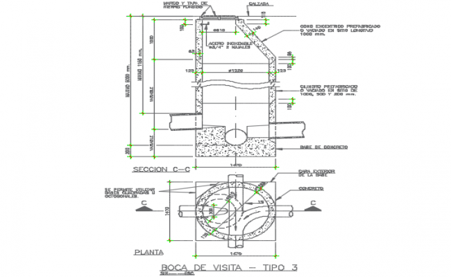 Main hole plan and section detail dwg file