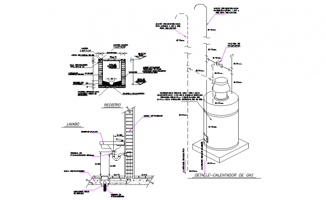 Main hole section plan autocad file