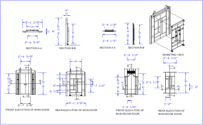 Main room door design with isometric view,plan and elevation dwg file