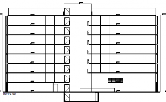 Main sectional view of multi-flooring office building view dwg file