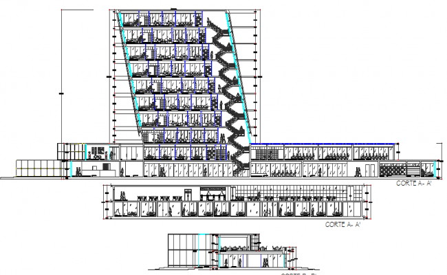Main sectional view of multi-story office building dwg file