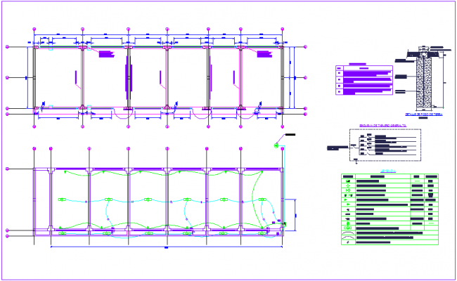 Major electrical installation plan with  its legend for classroom view dwg file