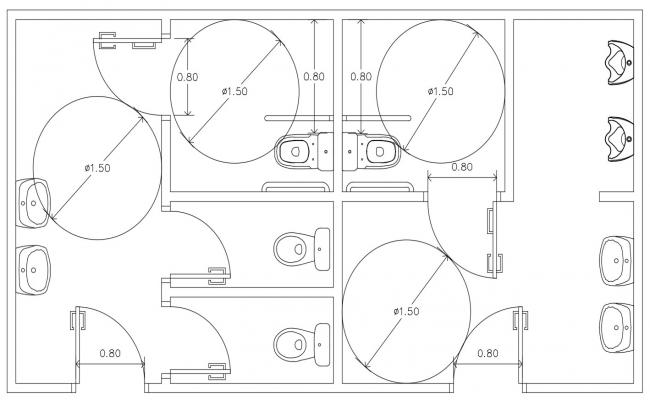 Male and Female Public Toilet Design Layout Plan CAD Drawing