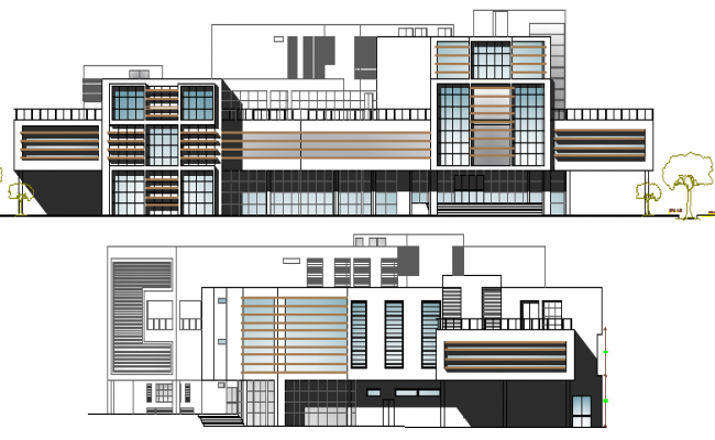 Mall Architecture Design and Elevation dwg file