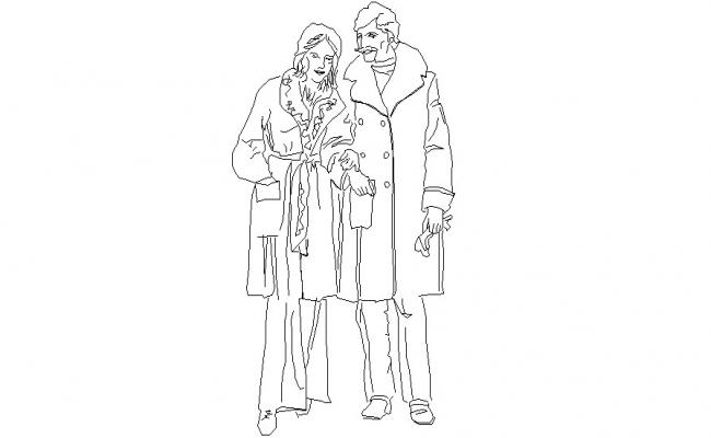 Man and Woman Human Figure CAD Blocks Download