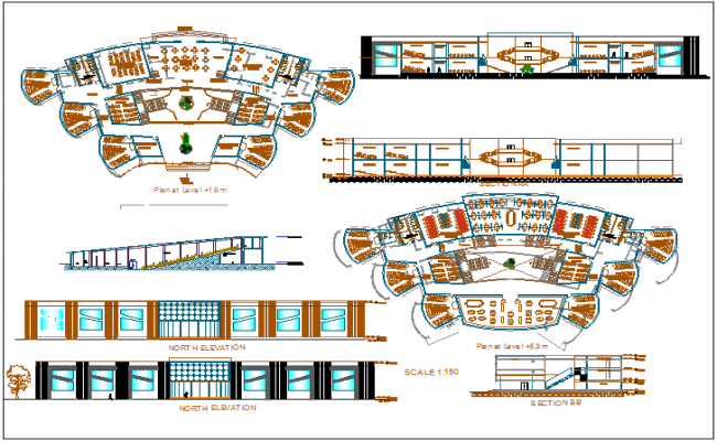 Management college elevation, sectional view and floor plan details dwg file