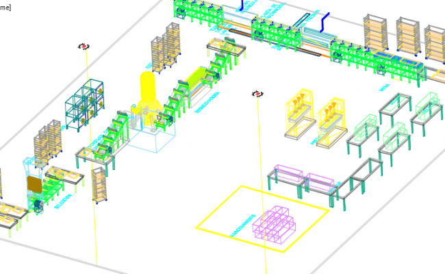 Manufactures distribution of plant 3 D plan detail dwg file