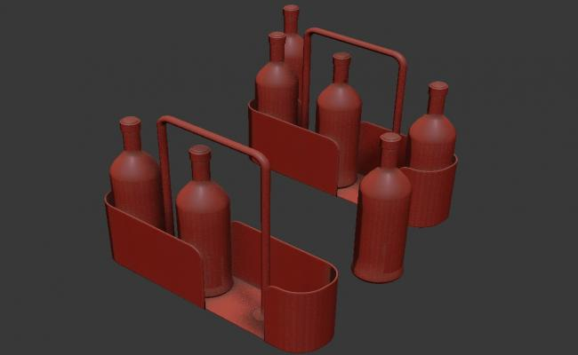 Many Bottles and trey in 3D MAX File Free