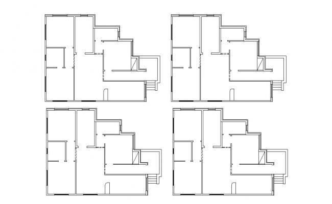 Many Floors Plan Of Residential House Building Design CAD File