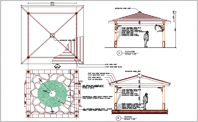 Marble paving in radial pattern plan,elevation and section view dwg file