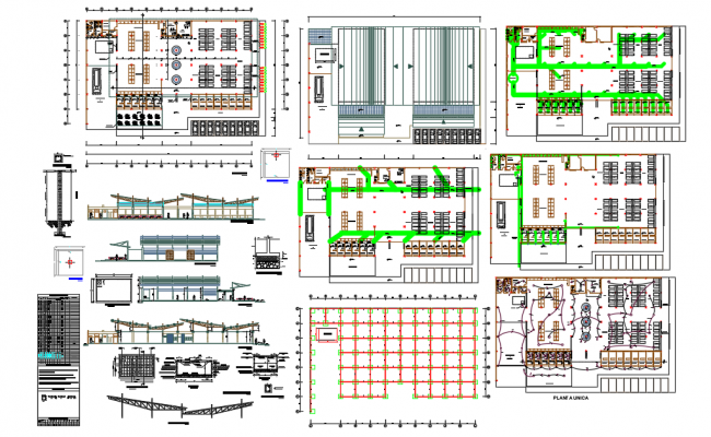 Market Elevation & Section layout plan dwg file