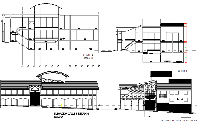 Market of supplies elevation and sectional details dwg file