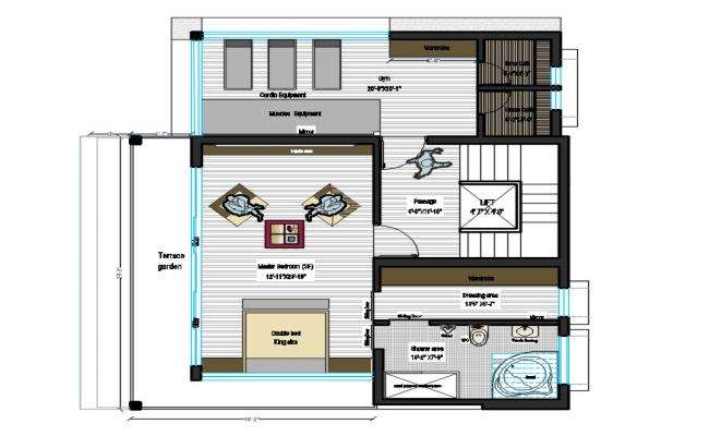 Master Bedroom Plan With GYM AutoCAD File
