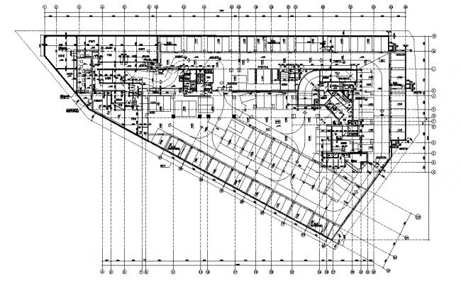 Master Plan Of Commercial Building With Working Drawing CAD File Free
